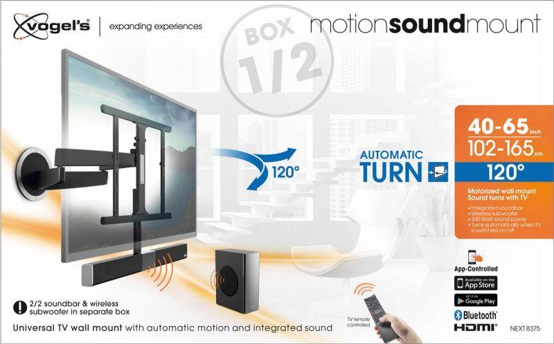 Vogel's MotionSoundMount (NEXT 8375) Elektrisch draaibare tv-beugel met geïntegreerd geluid 30 Draaibaar (tot 120°) Packaging front
