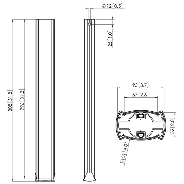 Vogel's PUC 2508 Pole 80 cm silver - Dimensions
