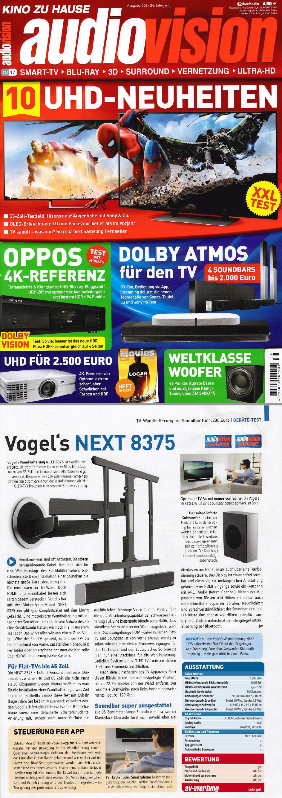 Testbericht Elektrische TV-Wandhalterung mit Sounbar NEXT 8375 | Vogel's