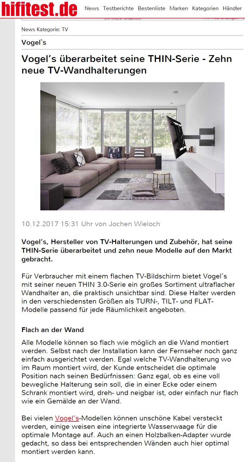 Presse Bericht bahnbrechende TV-Wandhalterungen Vogel's