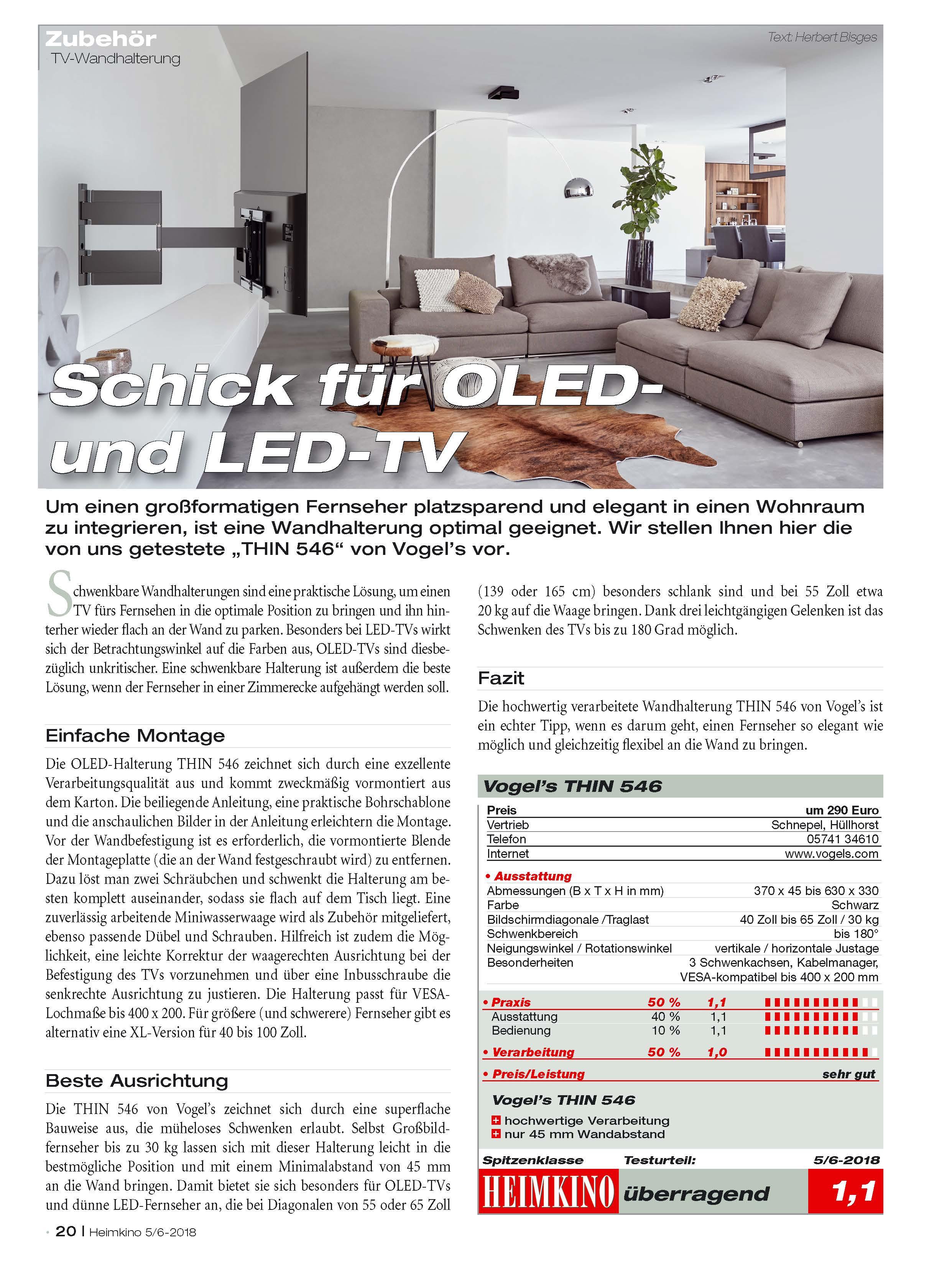 Testurteil Schwenkbare TV-Wandhalterung für OLED Schirme