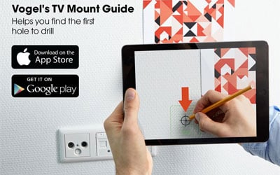 Find first hole to drill with mounting app for TV wall mount | Vogel's