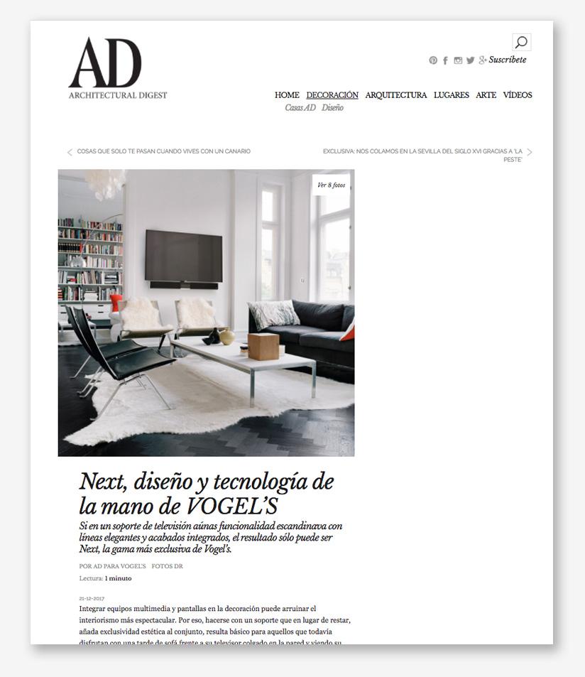 Foto del artículo publicado en AD sobre soportes Vogel's